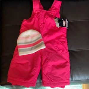 Toddler Girl-9-12 Mo.NWT Pink Ski Overalls W/ Hat